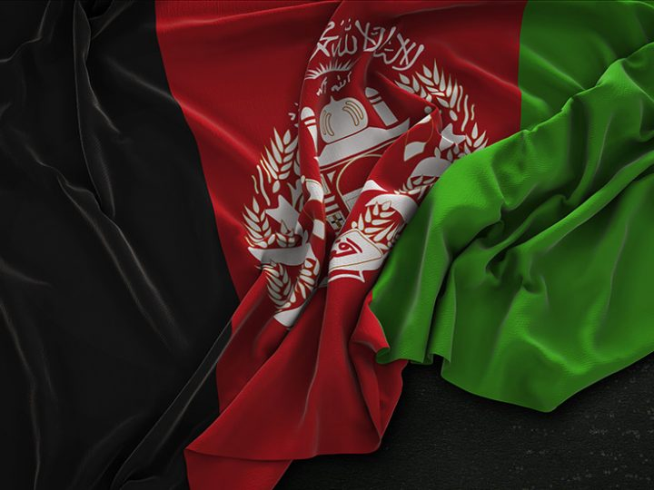 Afghanistan Flag Wrinkled On Dark Background 3D Render